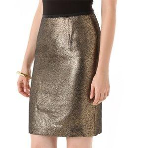 Tory Burch Brandy metallic woven pencil skirt